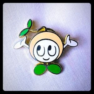 Smiling Peach Orange Fruit Pin Cute Character Pin